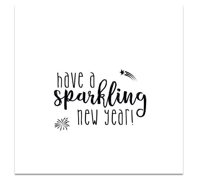 Kerstkaart monochrome - SPARKLING NEW YEAR