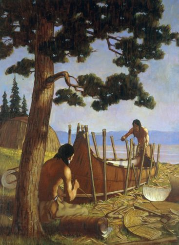 W. Langdon Kihn - Ojibwa Indians commonly called the Chippewa Indians of the Great Lakes region stretch birch bark over a bent wood frame to fashion a canoe.