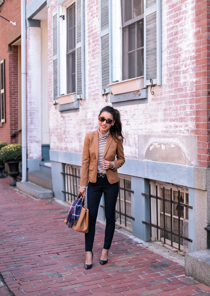 Must have pieces for a fall work wardrobe: striped turtleneck + neutral blazer + navy pants