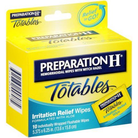 Preparation H Totables Hemorrhoidal Wipes With Witch Hazel, 10ct