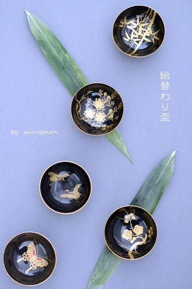 Japanese urushi lacquer bowls
