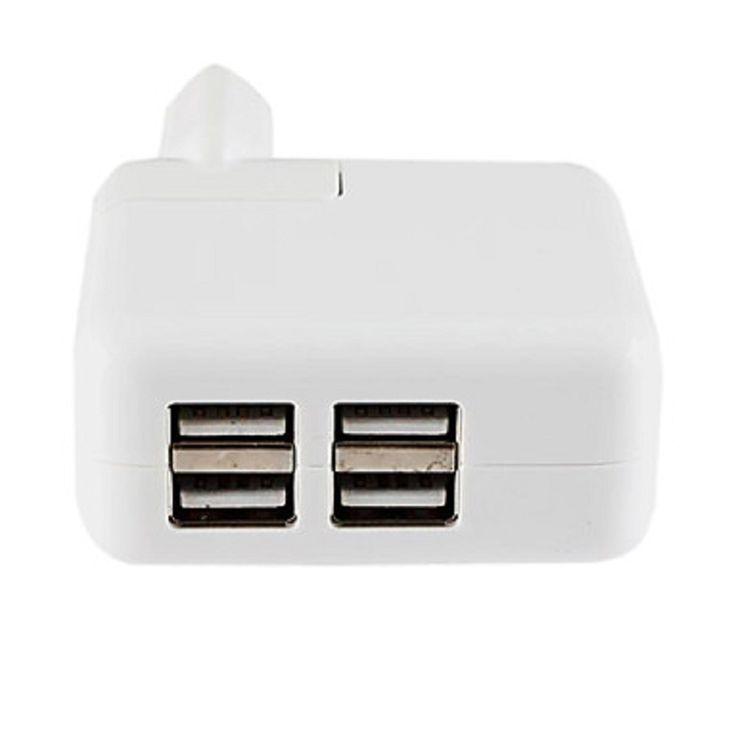 Cargador Enchufe Con Cuatro Puertos USB - http://complementoideal.com/producto/cargador-enchufe-con-cuatro-puertos-usb-modelo-9168/  - Cargador de móvil con 4 Puertos USB para que puedas cargar 2 dispositivos al mismo tiempo. Si tienes pocas tomas de corriente este cargador es indicado para ti, ya que puedes cargar 4 dispositivos móviles al mismo tiempo. Entrada: AC 110-240V/Salida: 5V DC, 4A