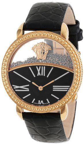 """Versace Women's 93Q80BD008 S009 """"Krios"""" Rose Gold Ion-Plated Stainless Steel and Black Leather Micro-Sphere Watch Versace"""