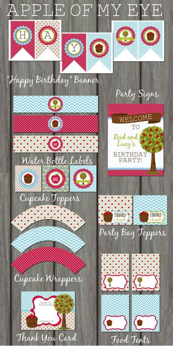 Apple of my Eye Birthday Party Kit, Apples, Autumn, Brown, DIY,  Banner, Chevron, Fall, Printable, Water Labels, Toppers