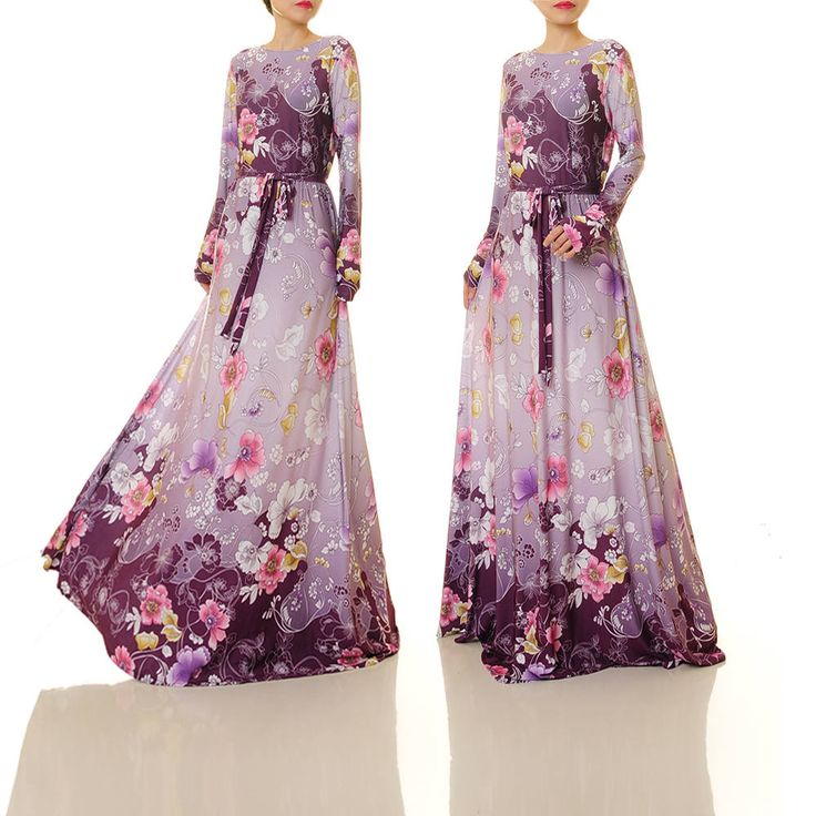 Purple Floral Maxi Dress | Purple Gown | Long Floral Dress | Wedding Guest Dress For Winter | Jersey Abaya Maxi Dress Long Sleeves S/M 6490 by Tailored2Modesty on Etsy