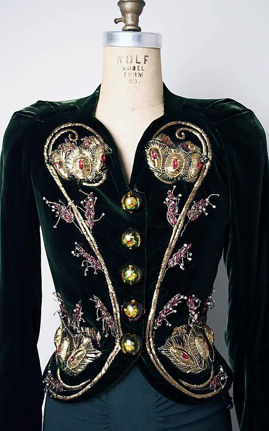 Vintage Elsa Schiaparelli 1930s silk rayon evening ensemble - beautiful embroidered jacket with metallic thread