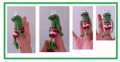 fingerpuppetpatterns of frog, duck and friends. Kikker en eend en hun vriendjes patronen van vingerpoppetjes