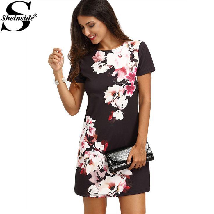 Ladies Summer Mini Dresses Work Wear Office Multicolor Floral Print Round Neck Short Sleeve Straight Dress