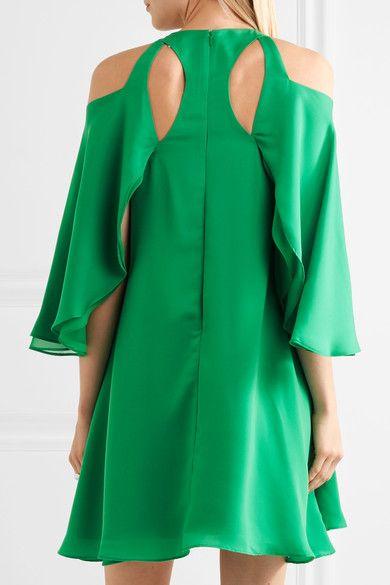 Halston Heritage - Cold-shoulder Ruffled Twill Mini Dress - Green