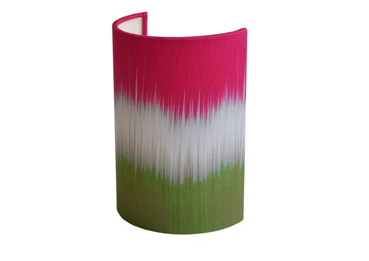 Green/Pink ikat Shield Ellipse wall shade