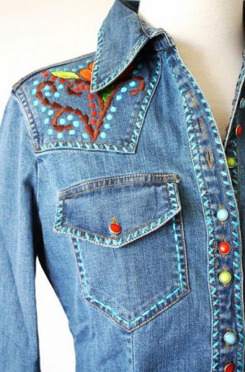 Cowgirl Fashion :: Tops :: NEW FOR FALL! VINTAGE COLLECTION DENIM EMBELLISHED SHIRT! - Native American Jewelry|Ladies Western Wear|Double D Ranch|Ladies Unique High End Western Fashions