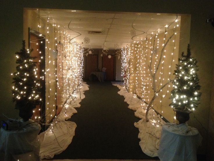 Beautiful Formal Christmas Party Ideas Part - 7: Winter Wonderland Entrance For Our Ladies Ornament Exchange Party · School  Dance DecorationsChristmas Banquet DecorationsFormal ...