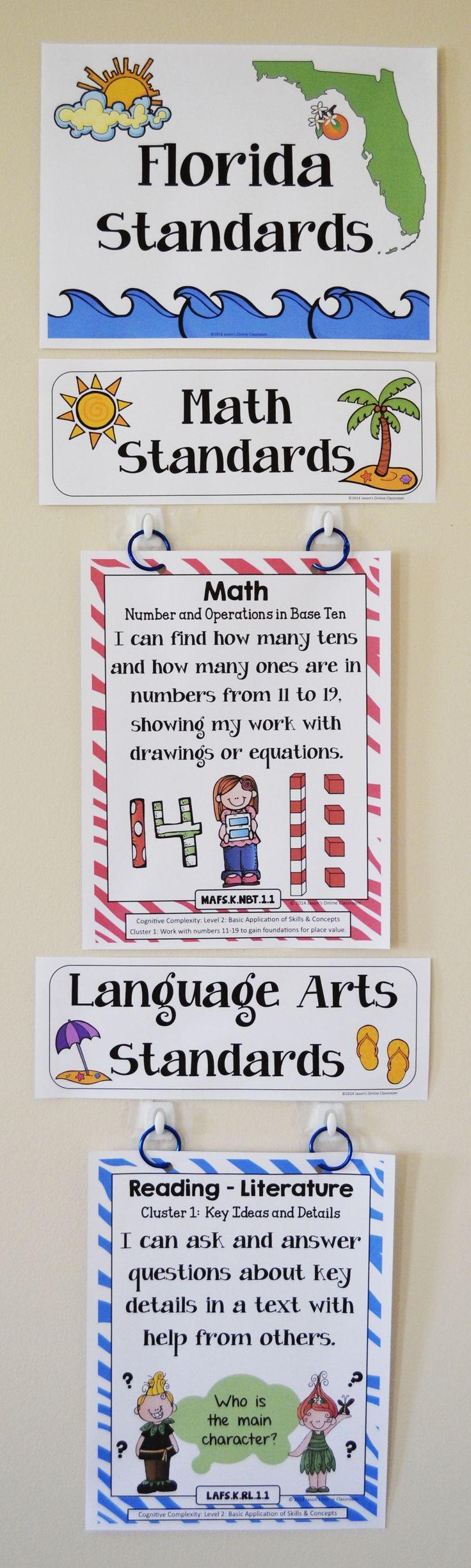 Florida Standards for Kindergarten! $  Cool way to display standards...