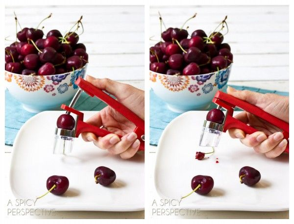 How to Pit Cherries (And Olives) @Sommer | A Spicy Perspective  ASpicyPerspective.com #howto #kitchentools #cherries