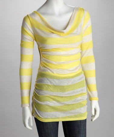 Take a look at this Yellow Stripe Dress by Double Zero on #zulily today!