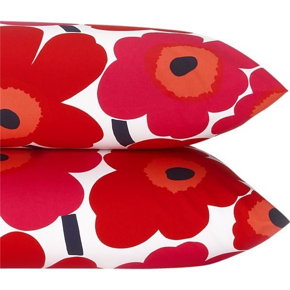 Marimekko Pieni Unikko Red King Pillowcases in Bed and Bath | Crate and Barrel
