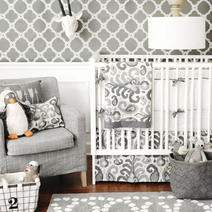 urban ikat in gray crib bedding set - Gray Baby Cribs