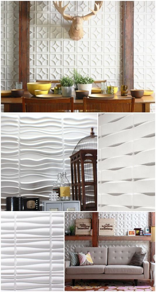 Textured wall tiles.