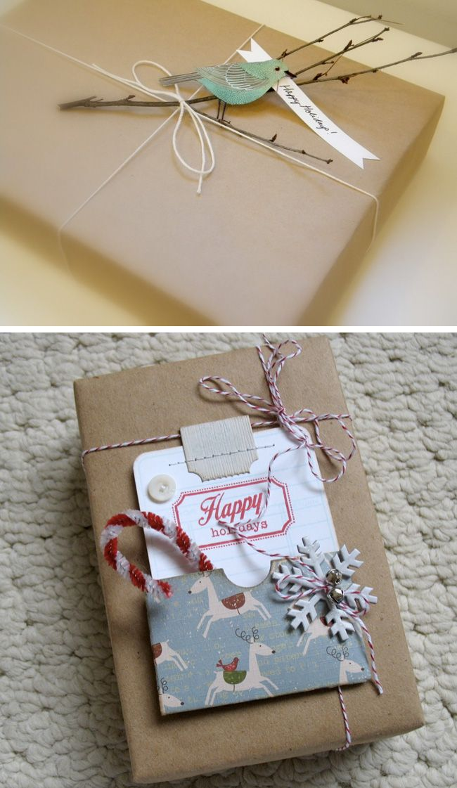 """Brown paper packages tied up with string..."" Love the little branch with the paper bird."