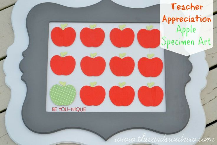 Teacher Appreciation Apple Specimen Art by The Cards We Drew for Tatertots and Jello!! -- #DIY #giftideas: Appreciation Week, Teacher Gifts, Specimen Art, Frames Apples, Fun Apples, Appreciation Apples, Teacher Appreciation Gifts, Diy Giftidea, Apples Specimen
