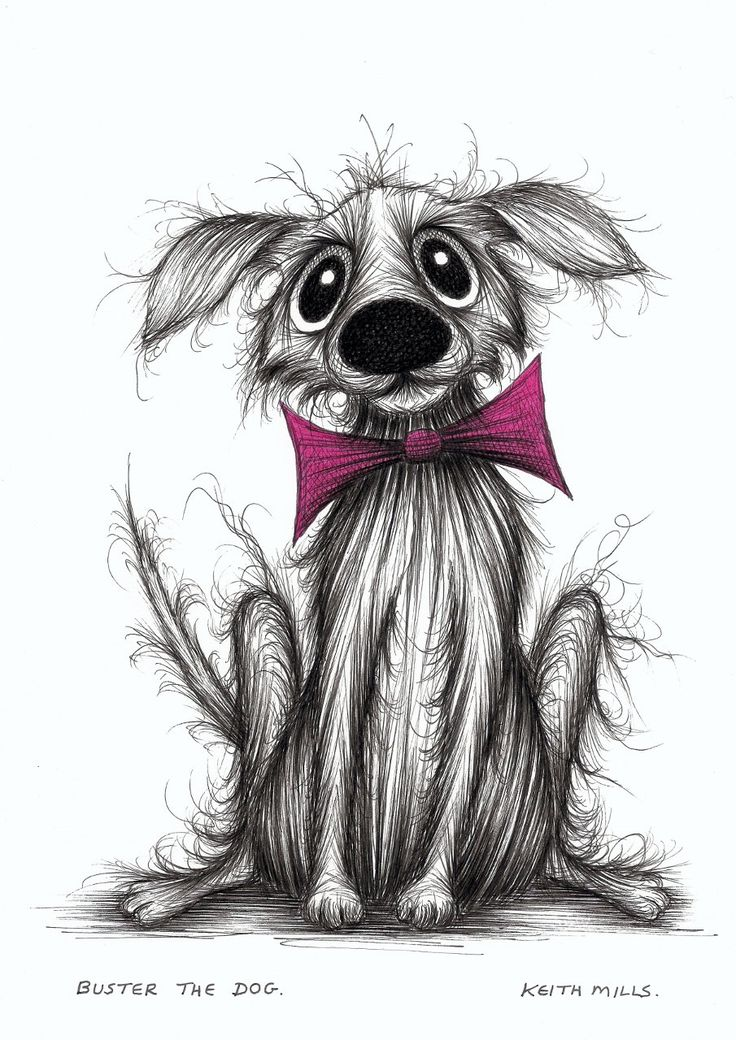 Buster the dog Slightly cute pet doggie in bow tie Original cartoon ink sketch. via Etsy by Keith Mills.