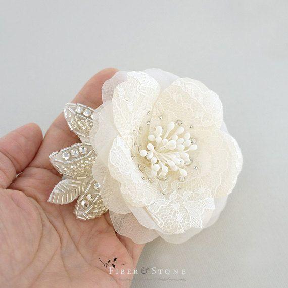 Crystal and Lace Bridal Headpiece Swarovski Crystals by FiberStone, $59.00