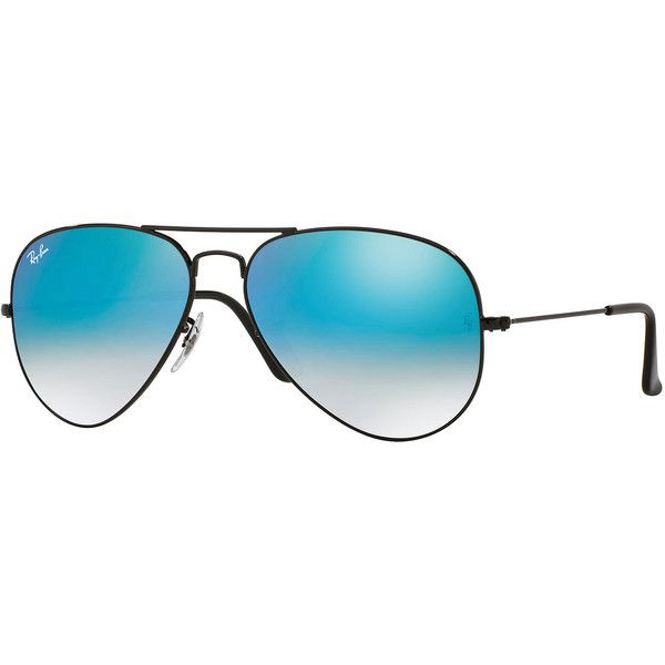 Ray-Ban Ombre-Mirrored Aviator Sunglasses (230 CAD) ❤ liked on Polyvore featuring accessories, eyewear, sunglasses, ray ban aviator, mirror wayfarer sunglasses, aviator sunglasses, ray ban glasses and ray ban wayfarer