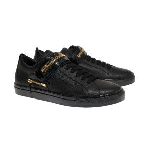 Edward black with black shiny sole and strap in crocodile printed leather with maxi zipper gold