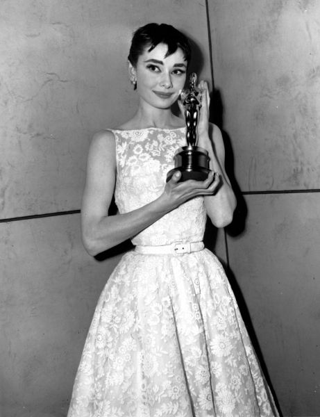 Historic Oscars Red Carpet Style | POPSUGAR Fashion Audrey Hepburn at the 1954 Academy Awards  Audrey Hepburn in Givenchy, 1954