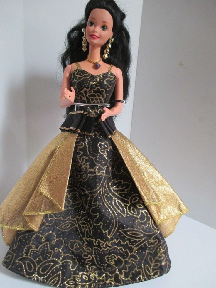 Barbie Collectable doll 1990's long black hair gold & black gown, jewelry #Barbie