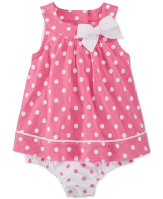 First Impressions Baby Girls' Pink Dot Sunsuit, Only at Macy's