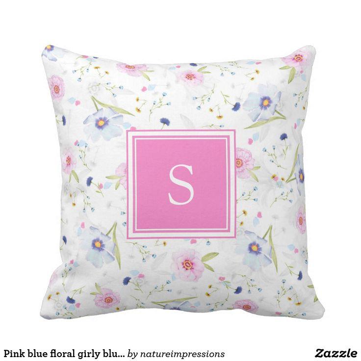 Pink blue floral girly blush summer monogram