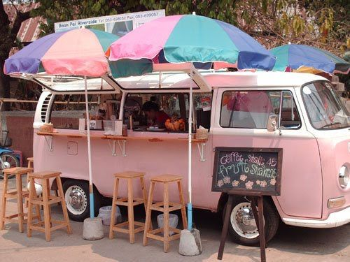 Pink VW bus. How fun would this be.