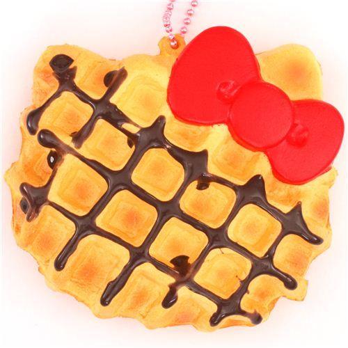 cute Hello Kitty waffle red bow squishy charm cellphone charm kawaii 1