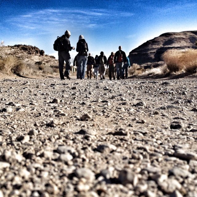 Group hike to Cowboy Caves in Vegas.