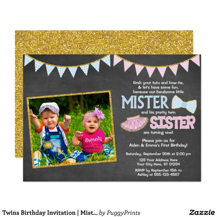 twins birthday invitation  mister and sister  zazzle