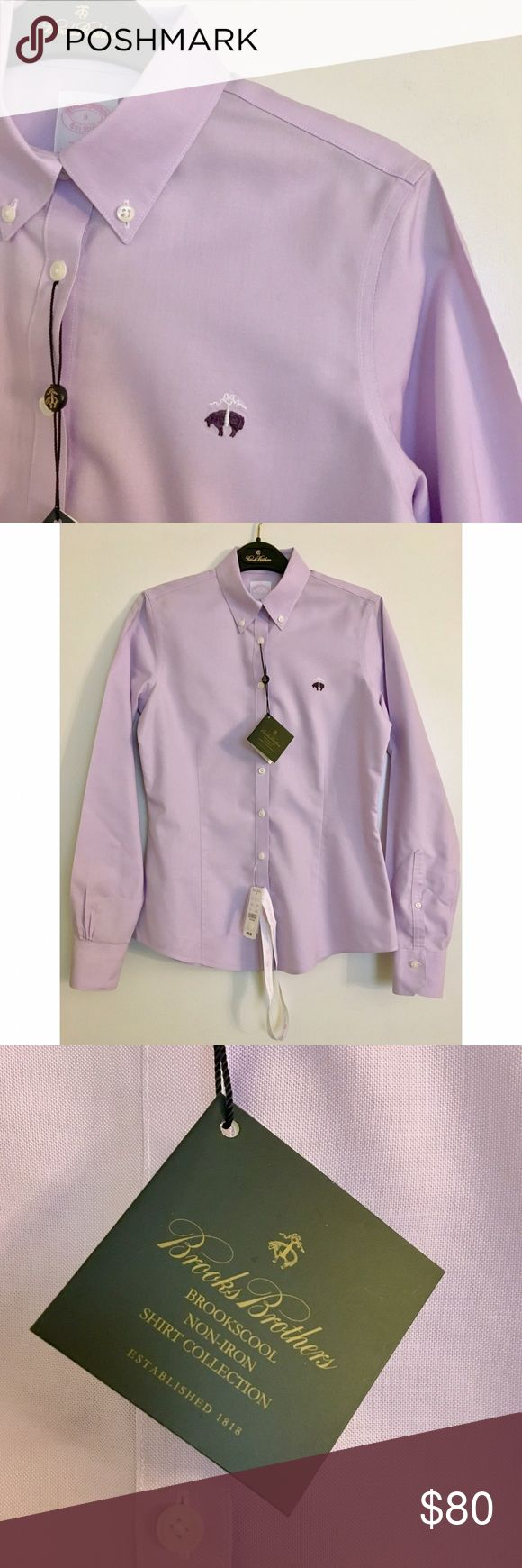 "NWT! Brooks Non-Iron Oxford Shirt New with tags! Brooks Brothers women's Oxford button-down collar shirt in non-iron Supima cotton, size 0 regular. Fit is ""Tailored"" fit, which is fitted and long enough to tuck in. Beautiful lavender color with purple and white Brooks Brothers logo. Retails for $98.50. Brooks Brothers Tops Button Down Shirts"