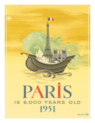 FRANCE - Paris Vintage Travel Poster 1951