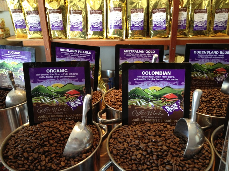 Some of the coffee varieties offered by Coffee Works in Mareeba and Cairns.