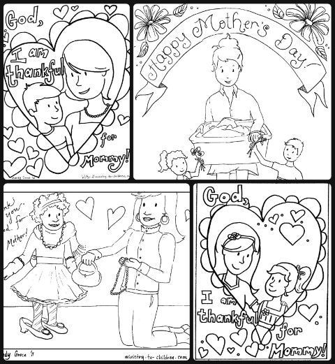 Mother's Day -- Download 4 free coloring sheets in one PDF.