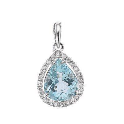 PEAR SHAPE AQUAMARINE AND DIAMOND PENDANT R82799, Temelli Jewellery