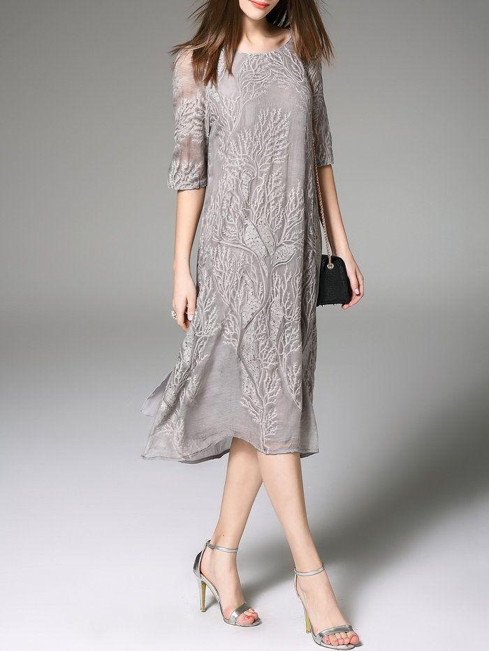 Gray Silk 3/4 Sleeve Embroidered Midi Dress