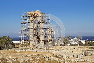 Ancient ruins in Rhodes city , Rhodes island, Europe. Ancient ruins of Kamiros, Greece.In the time of renovation