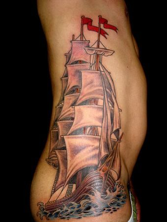 133 best images about pirate tattoos ship tattoos on for Religious rib tattoos for guys