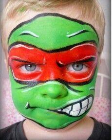 Ninja turtle makeup - Van says he wants to be a ninja turtle!