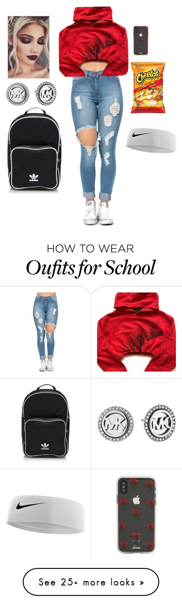 """Everyday outfit "" by yoselin530 on Polyvore featuring NIKE, Sonix, adidas Originals and Michael Kors"