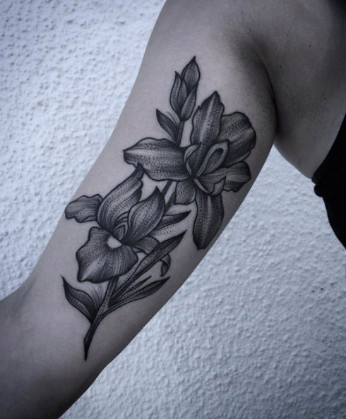 Dynamic blackwork iris flower tattoos by Laura Weller
