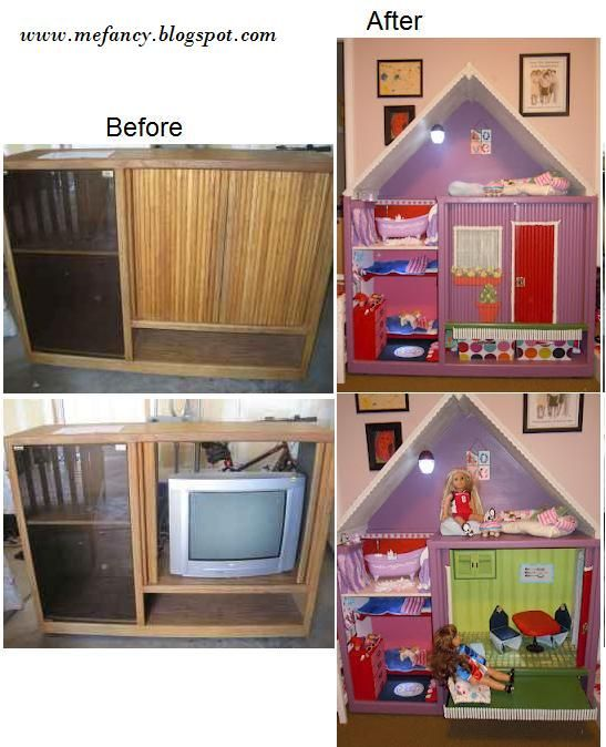 Ive done this with a kitchen cabinet, the best doll house for american girl dolls!!!