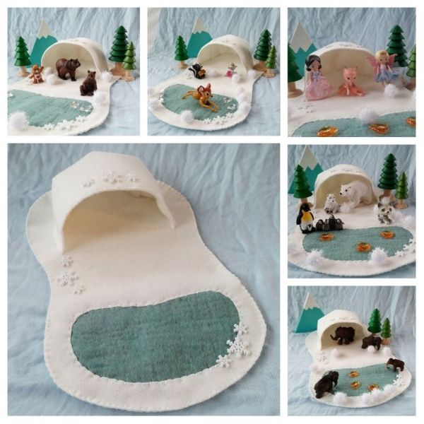 Polar Playscape Play Mat Felt Pretend Open-ended Artic Forest Tundra Fairytale Storytelling Winter Christmas Snowflake small world animal by MyBigWorld2015 on Etsy by lindsay0