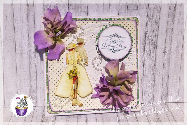 Pracownia artystyczna IKart: Foamiranowe kwiatki na kartce ślubnej